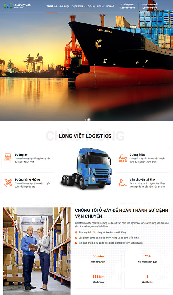 Mẫu website logistic