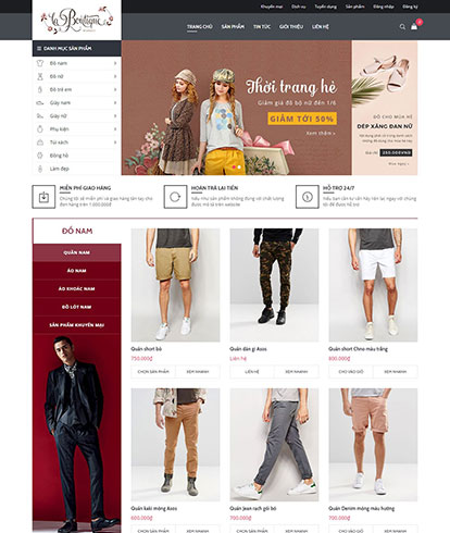 Thiết kế Website Thời Trang New Boutique