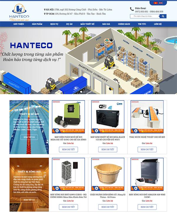 Thiết kế website bán hàng thiết bị bể bơi
