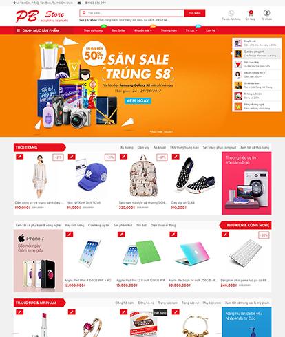 Thiết kế website siêu thị PB store