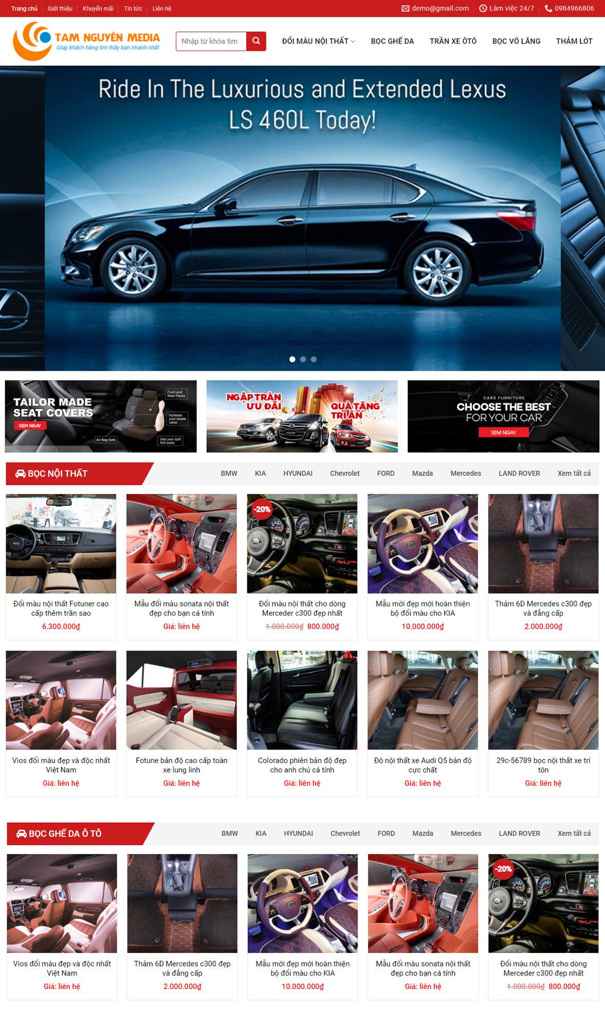 Mẫu website bán xe ôtô chuyên nghiệp