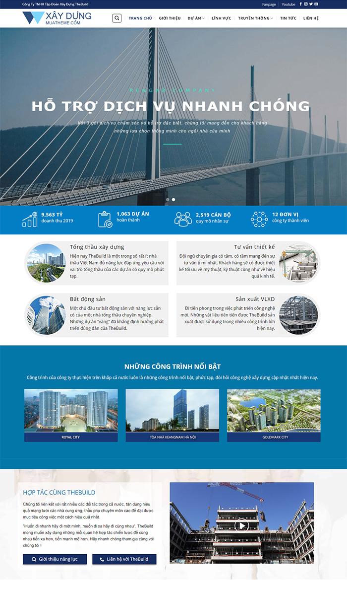 Mẫu website giới thiệu công ty xây dựng số 7