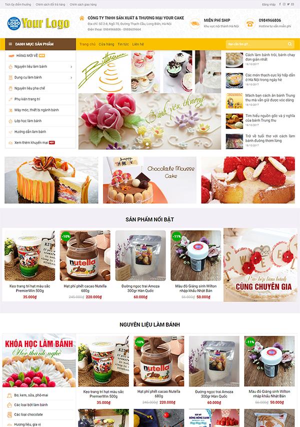 Thiết kế website bán bánh kẹo, bánh sinh nhật