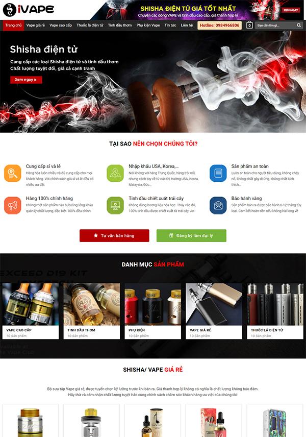 Thiết kế website bán hàng iVape – Vape Cao Cấp