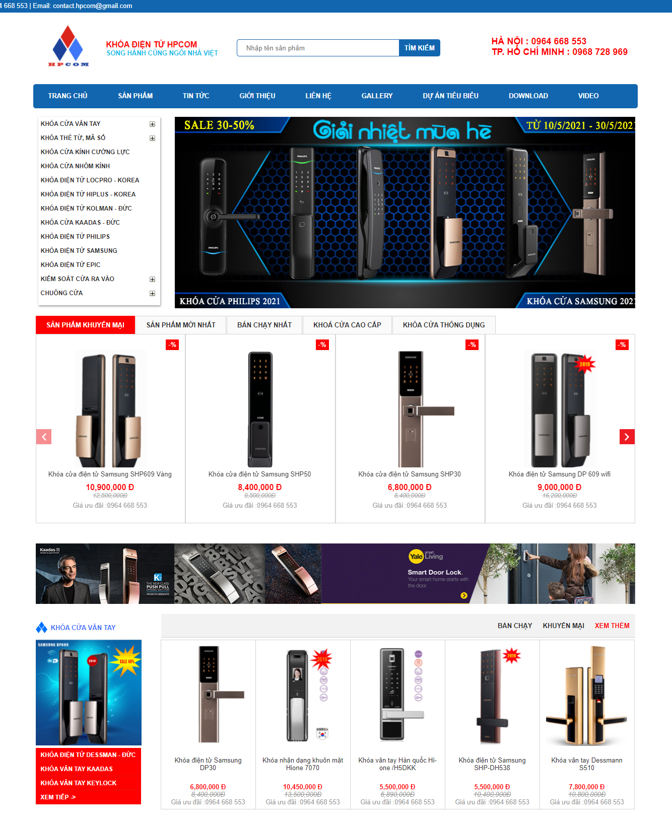 Thiết kế website bán hàng khóa cửa điện tử chuyên nghiệp