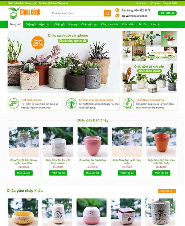 Thiết kế website bán hàng sản phẩm chậu cây xanh