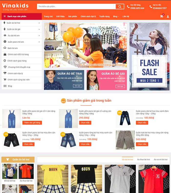 Thiết kế website bán hàng thời trang, phụ kiện thời trang