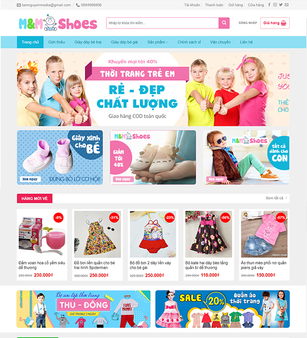 Thiết kế website bán hàng thời trang trẻ em MShoes