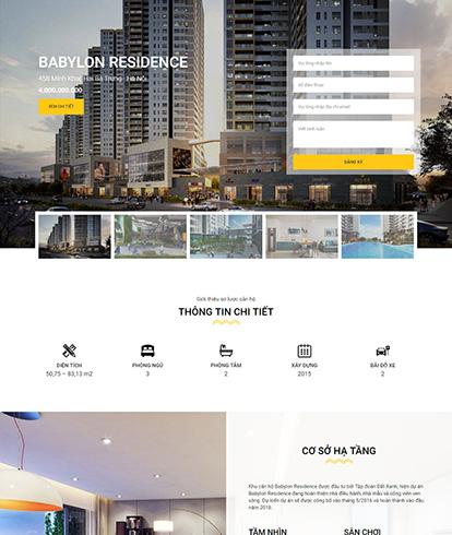 Thiết kế website bất động sản Babylon Residence