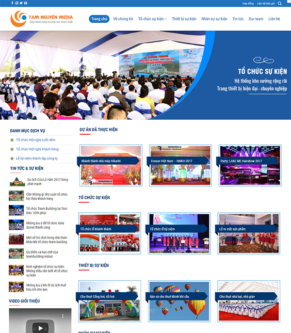 Thiết kế website công ty tổ chức sự kiện truyền thông