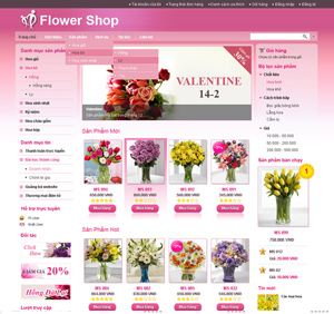 Thiết kế website dịch vụ hoa tươi màu hồng
