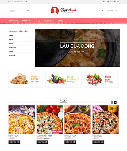 Thiết kế website đồ ăn và uống Wow Food