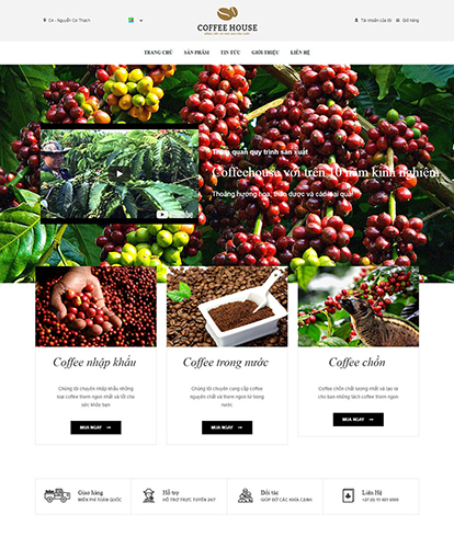 Thiết kế website đồ uống Coffee House