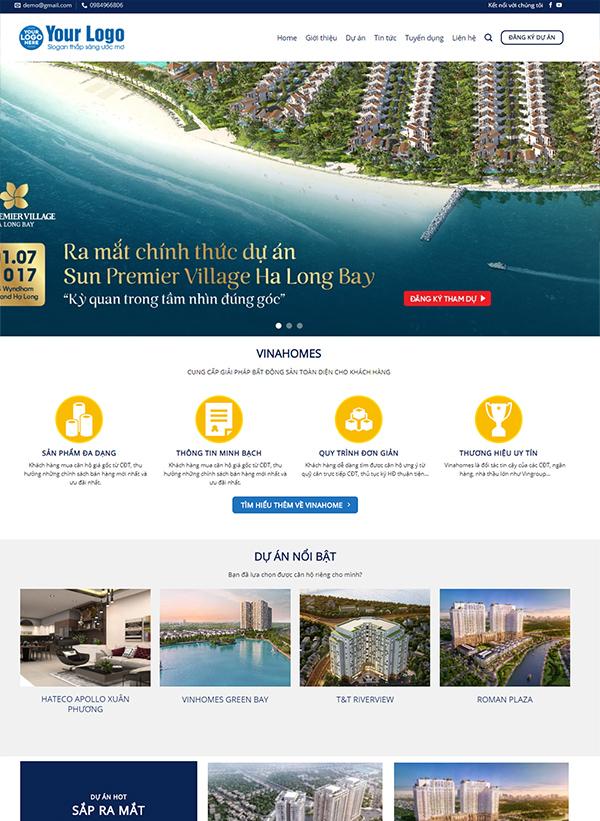 Thiết kế website dự án bất động sản - Mẫu số 2