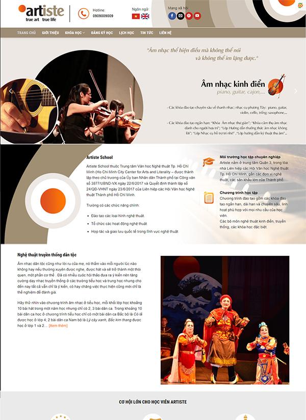 Thiết kế website giáo dục trung tâm đào tạo vẽ Art School