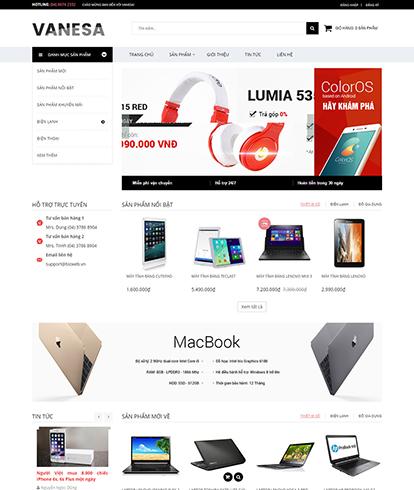 Thiết kế Website Kinh doanh điện máy Vanesa
