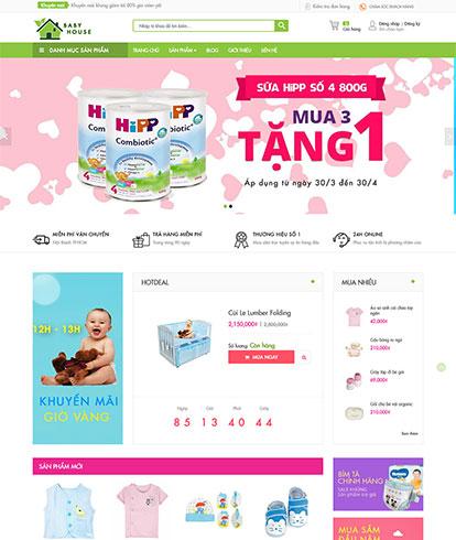 Thiết kế website kinh doanh đồ cho bé baby house