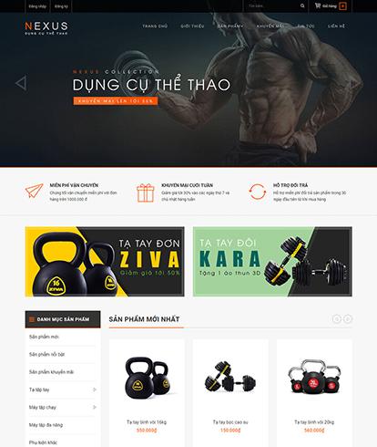 Thiết kế website kinh doanh đồ thể thao Nexus