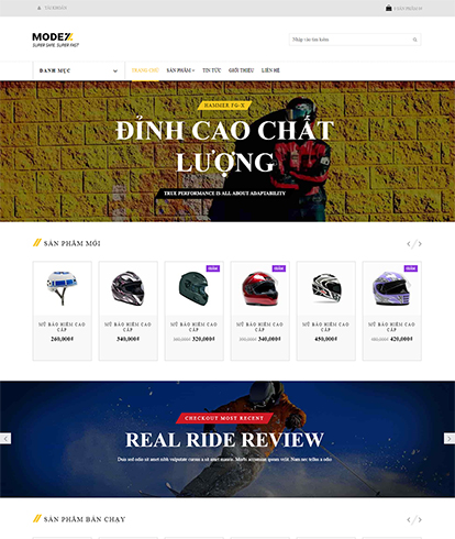 Thiết kế website kinh doanh Mũ bảo hiểm Modez