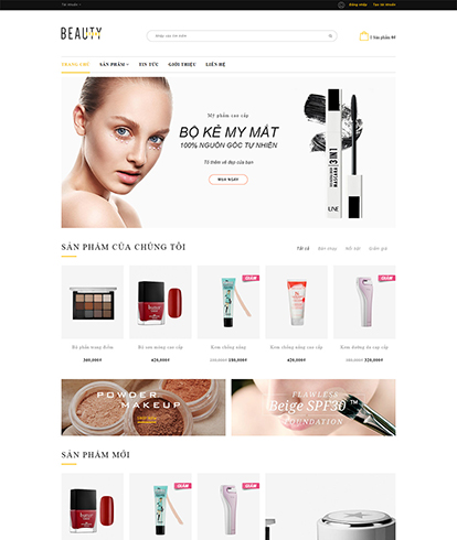 Thiết kế website kinh doanh mỹ phẩm Beauty Store