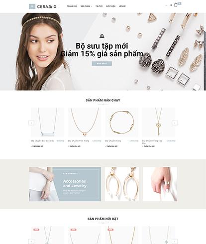Thiết kế website kinh doanh trang sức Ceramix