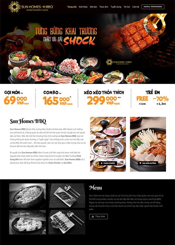 Thiết kế website nhà hàng lẩu nướng BBQ
