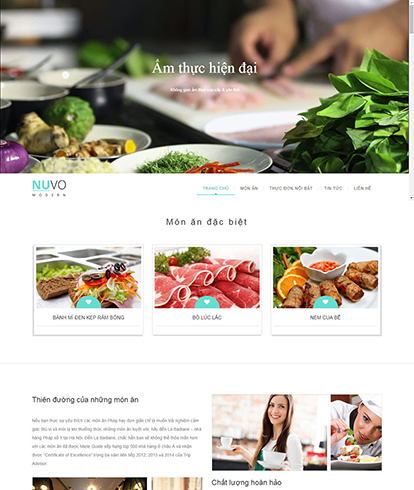 Thiết kế website nhà hàng Nuvo Theme