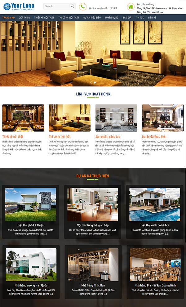Thiết kế website nội thất đẹp - Mẫu web NT4