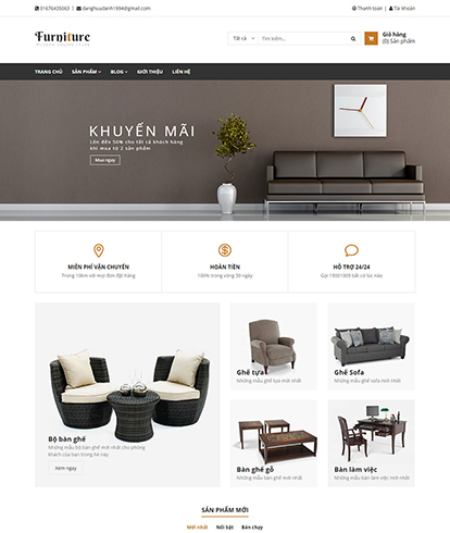 Thiết kế Website Nội thất DQ Furniture