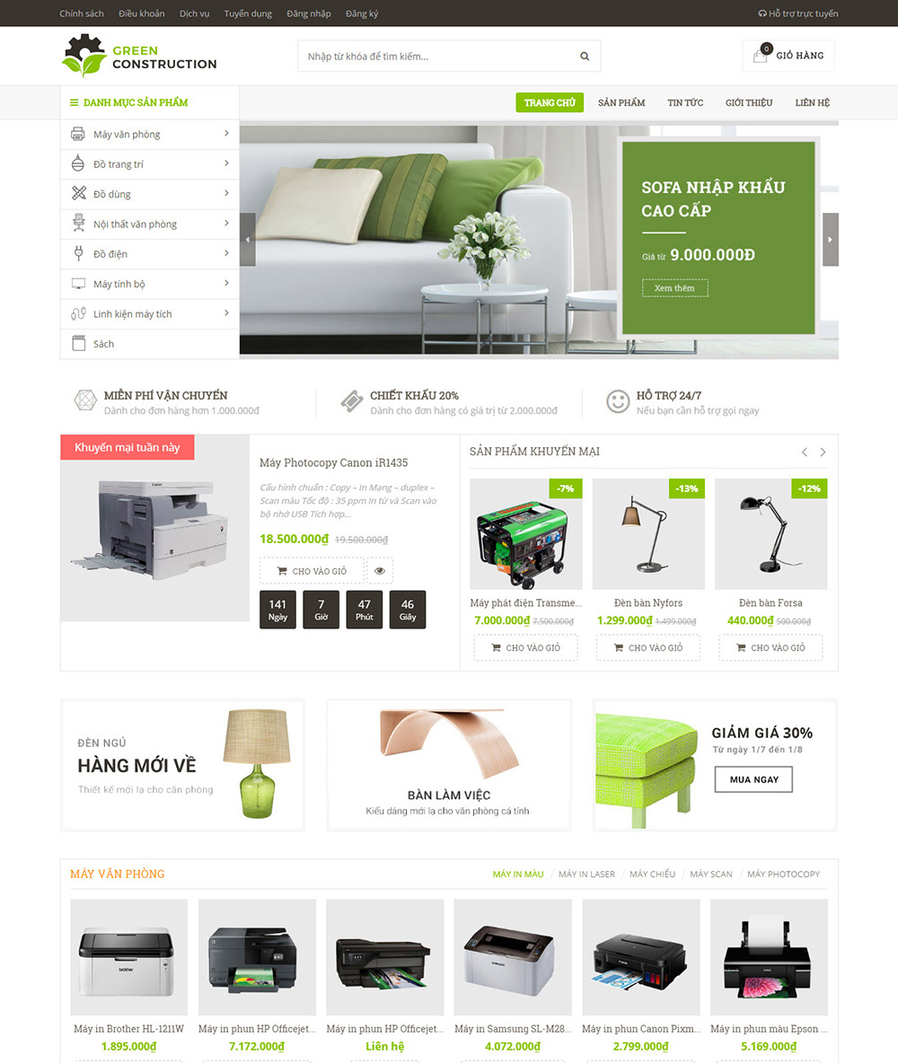 Thiết kế Website Nội thất Green Construction