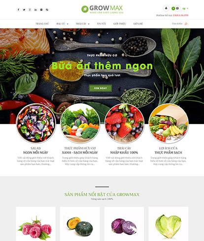 Thiết kế website nông sản sạch Growmax