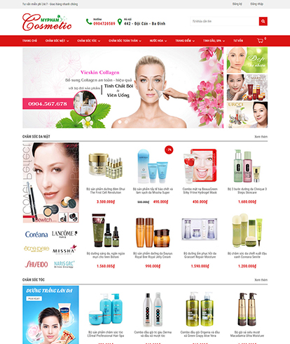 Thiết kế website sắc đẹp Cosmetic