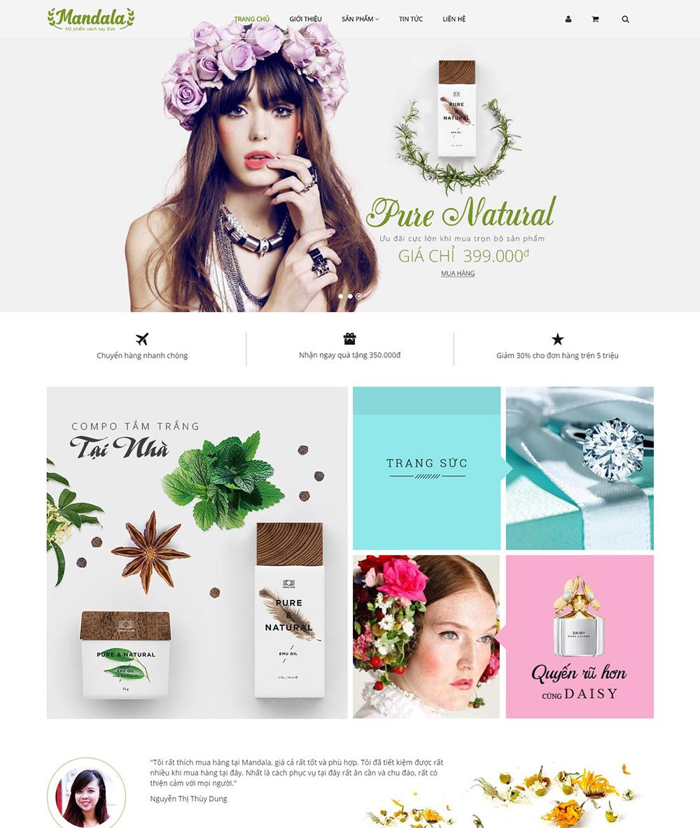 Thiết kế website Sắc đẹp Mandala