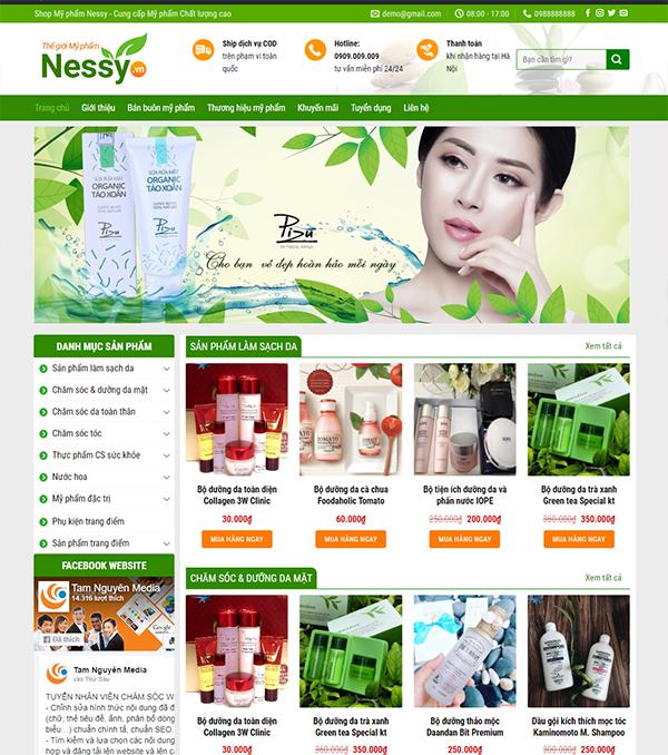 Thiết kế website Shop Mỹ phẩm Nessy