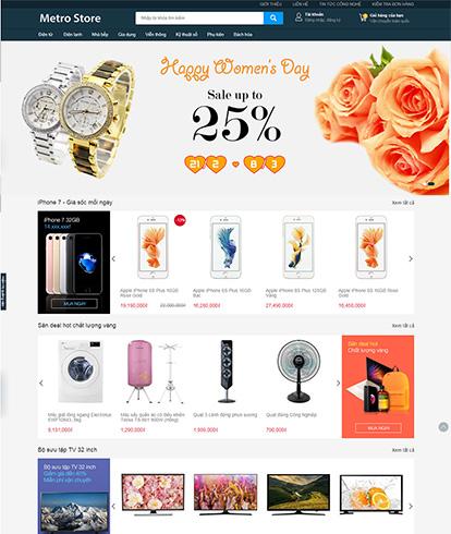 Thiết kế website siêu thị điện máy Metro Store