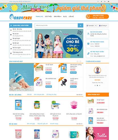 Thiết kế website Siêu thị mẹ và bé Babycare