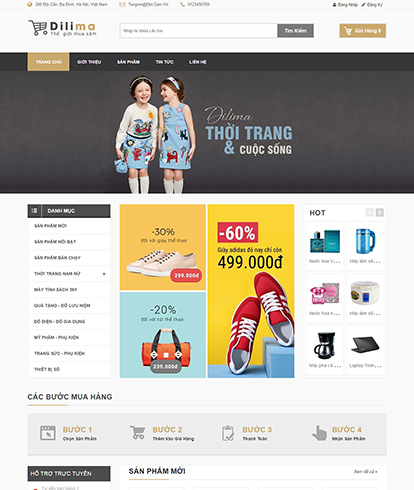 Thiết kế Website Thời Trang Dilima