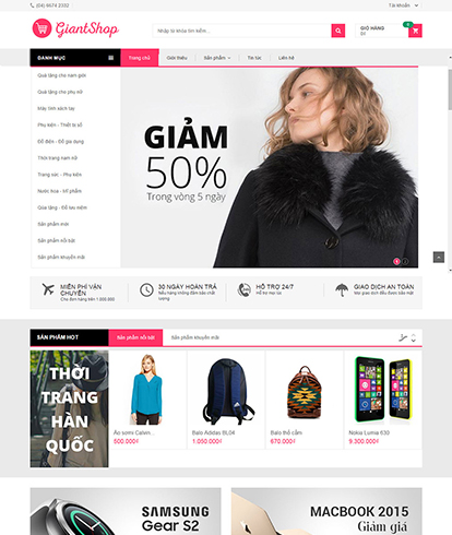 Thiết kế Website Thời trang Giantshop