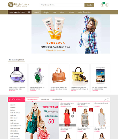 Thiết  kế website thời trang Perfect Store