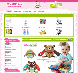 Thiết kế website thời trang trẻ em Vinakids