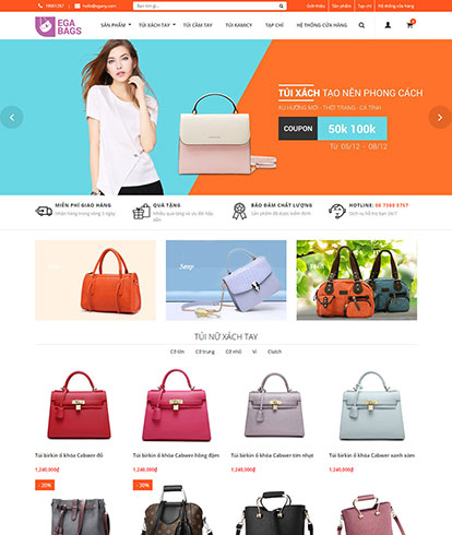 Thiết kế website thời trang túi xách The Bag