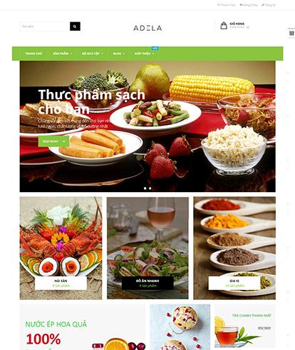 Thiết kế website thực phẩm sạch Adela