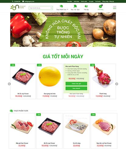 Thiết kế website thực phẩm sạch Organic store