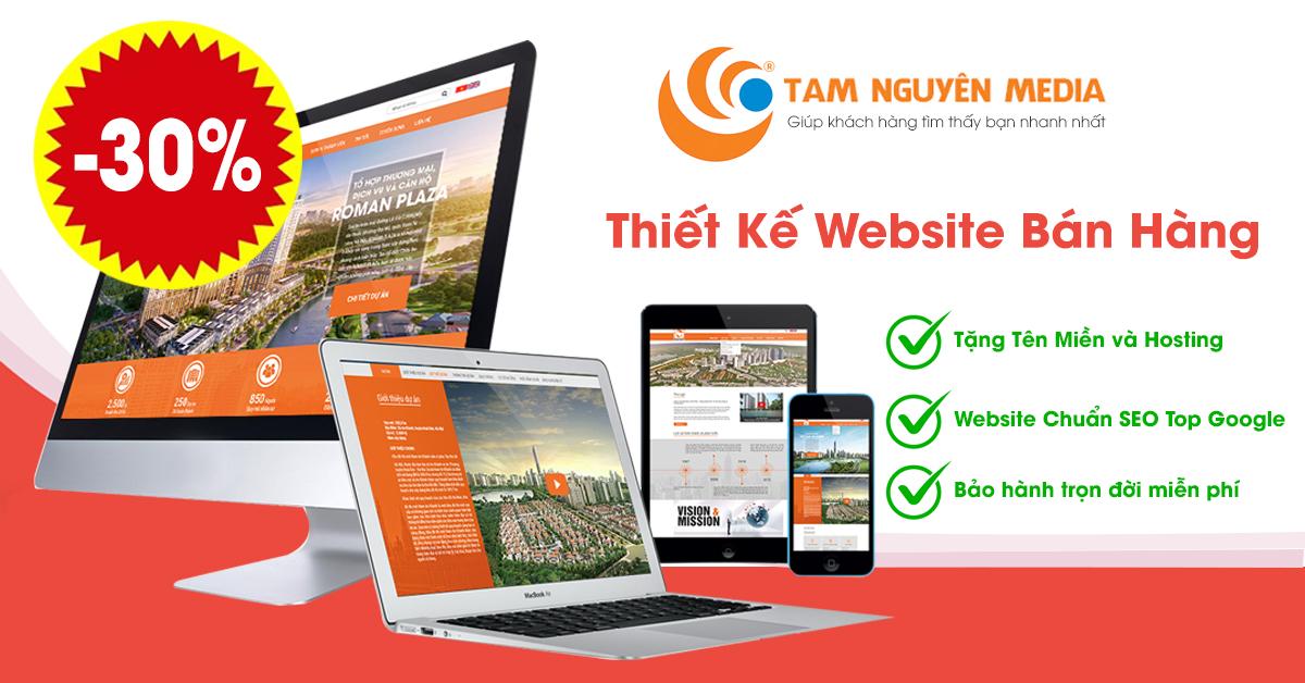 Giảm 30% thiết kế website bán hàng chuẩn SEO