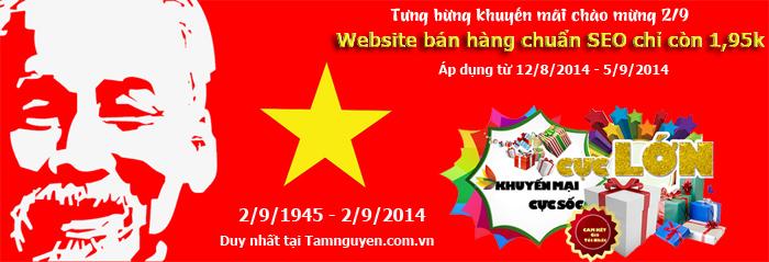 Thiet ke website chuan SEO giam 50 nhan dip quoc khanh 292014