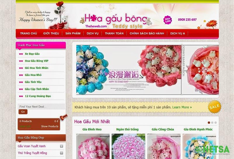 Thiết kế website bán hàng gấu bông chuẩn SEO