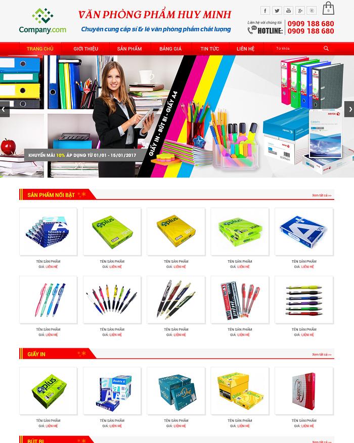 Thiết kế website bán hàng văn phòng phẩm tại Tam Nguyên